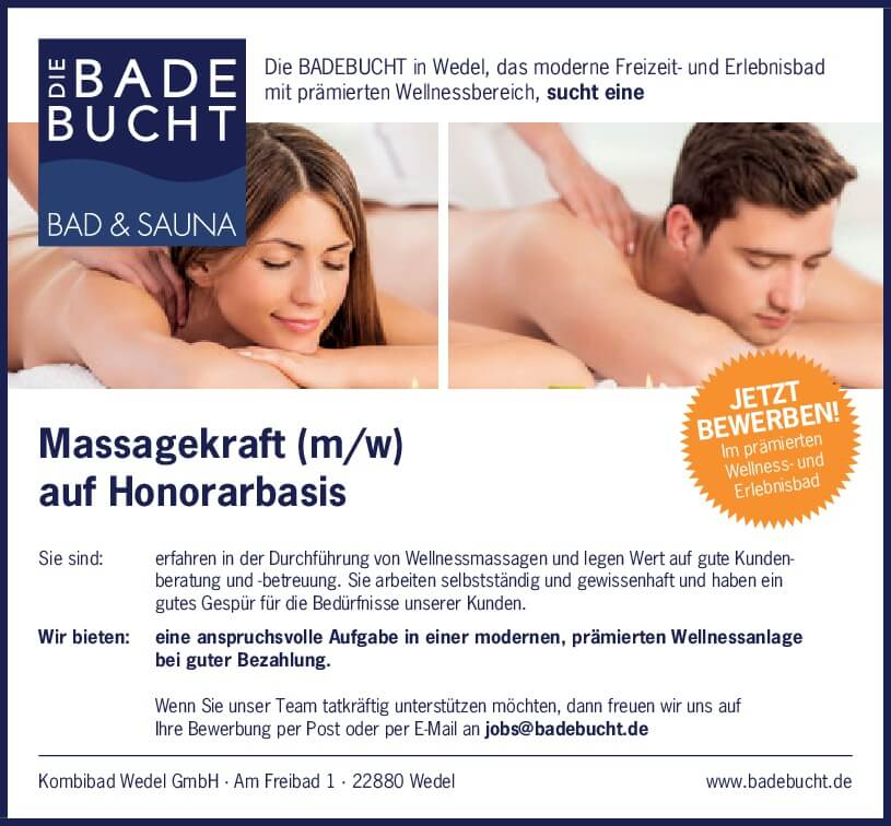 Stellenangebot Massagekraft Badebucht
